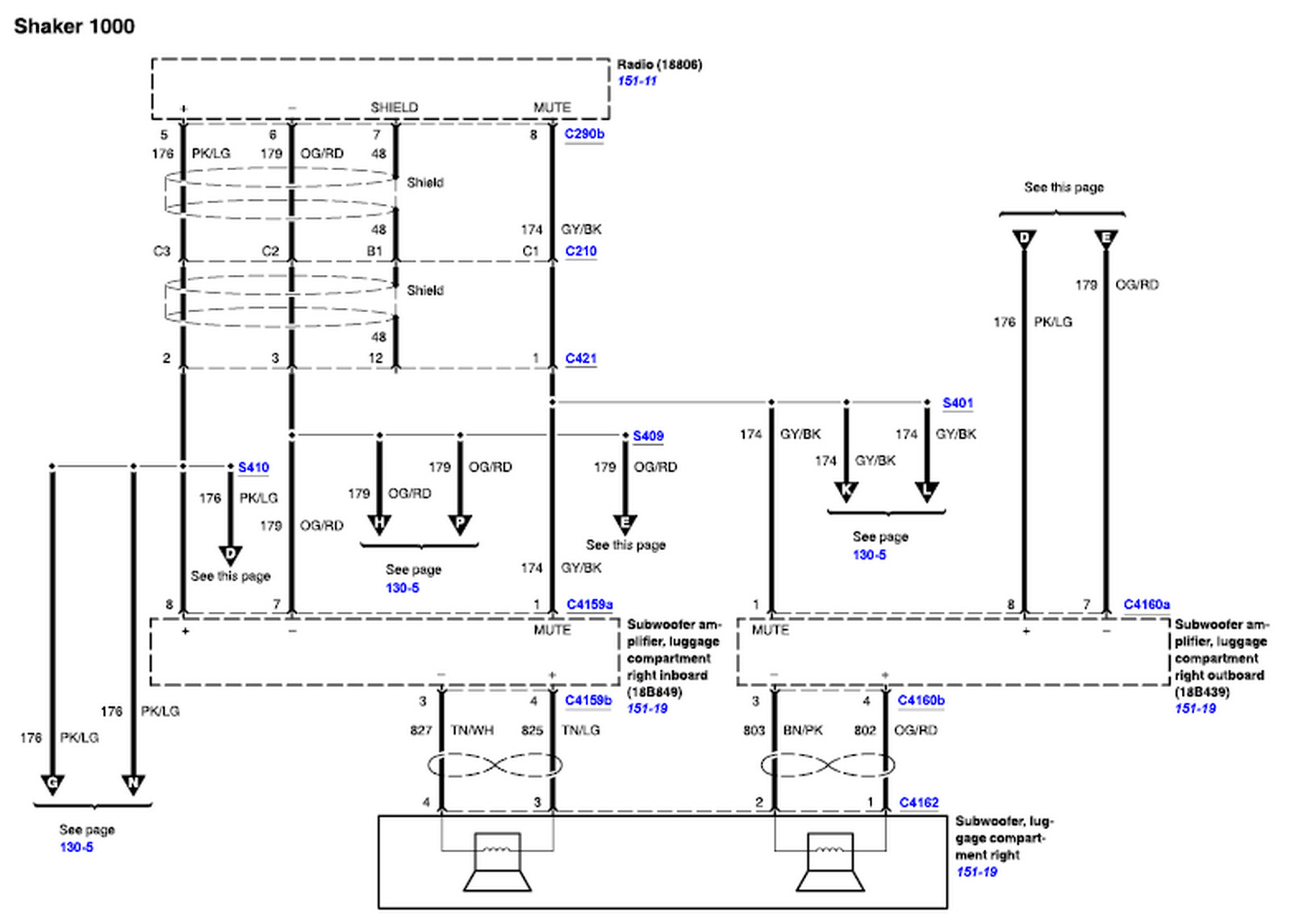 need a diagram of a shaker 500 audio system color codes for graphic