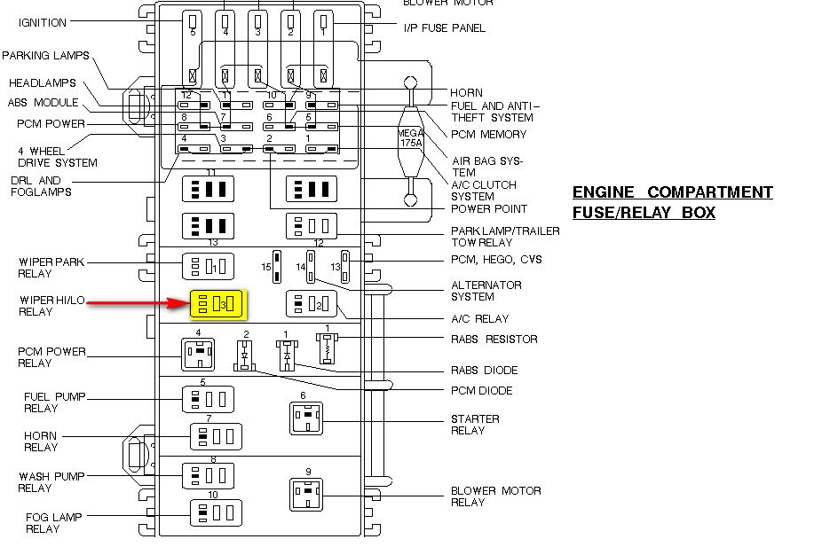 windshield wiper relay location 1994 f 250
