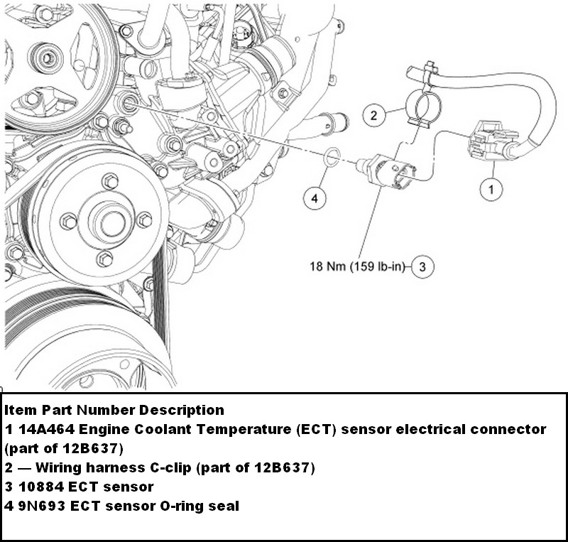 ford ect sensor location