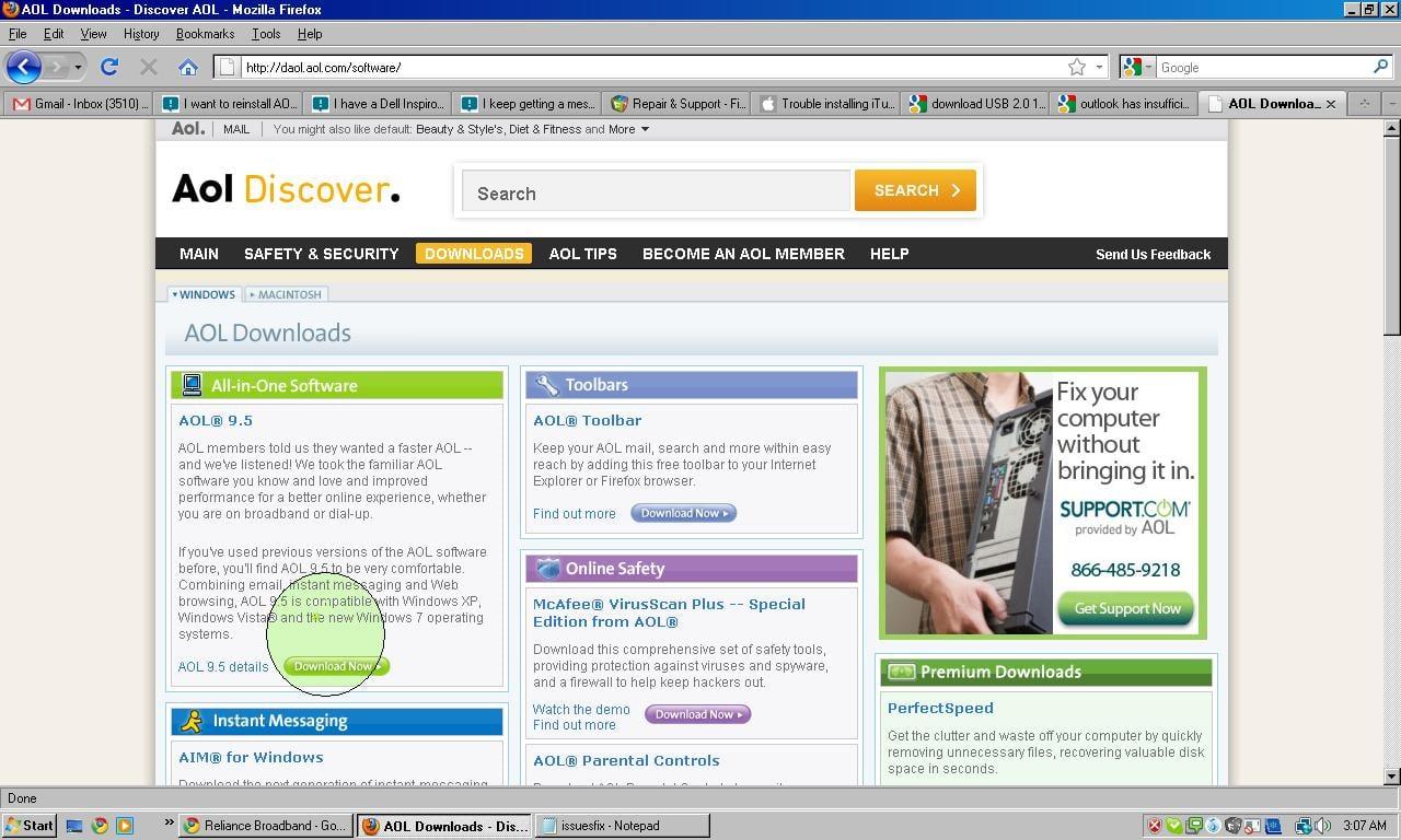 AOL 9.0 desktop reinstallation help