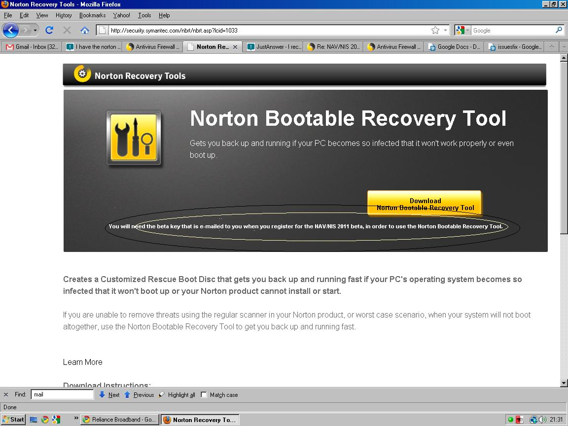 how to create norton bootable recovery tool