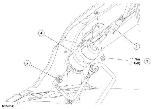 2002 ford focus fuel filter location