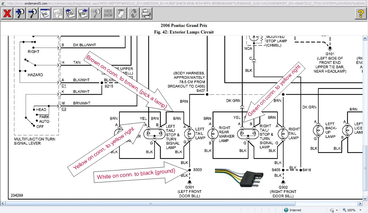 Anybody Know The Wiring Diagram To Install A Trailer Plug On A 2006 Pontiac Grand Prix