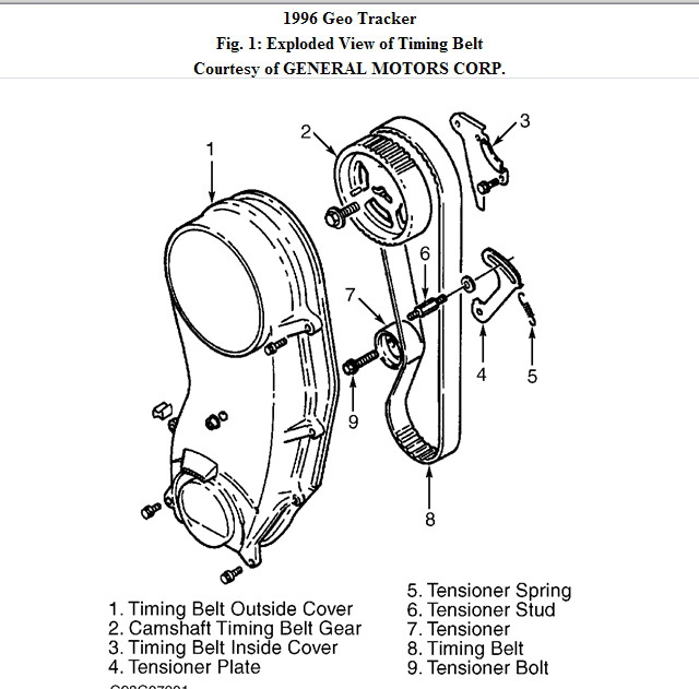 service manual  1996 geo tracker timing chain repair