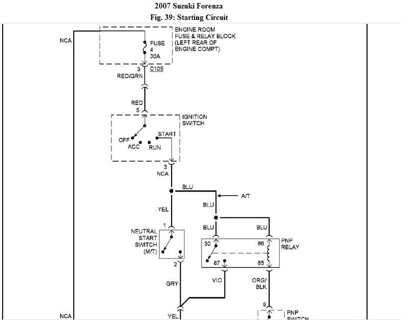 i have a 2007 suzuki forenza when i tried to start it the ... 2006 suzuki forenza engine diagram