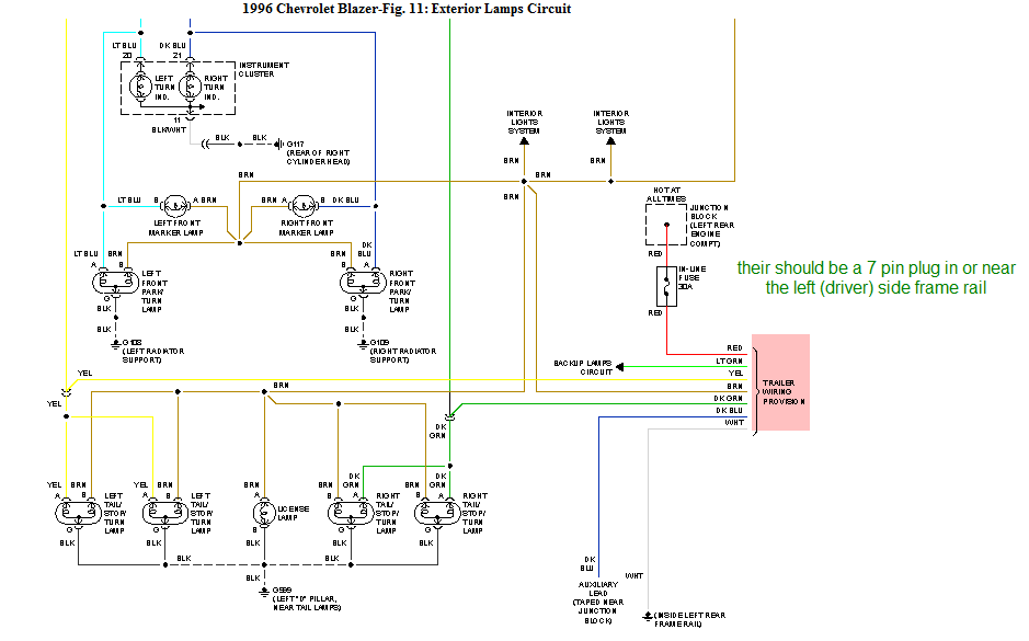 chevy blazer trailer lights wiring diagram
