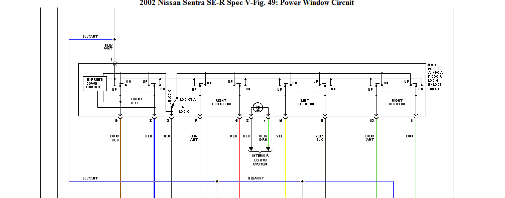 I need a wire diagram showing me which color wires go for 2002 nissan sentra window switch