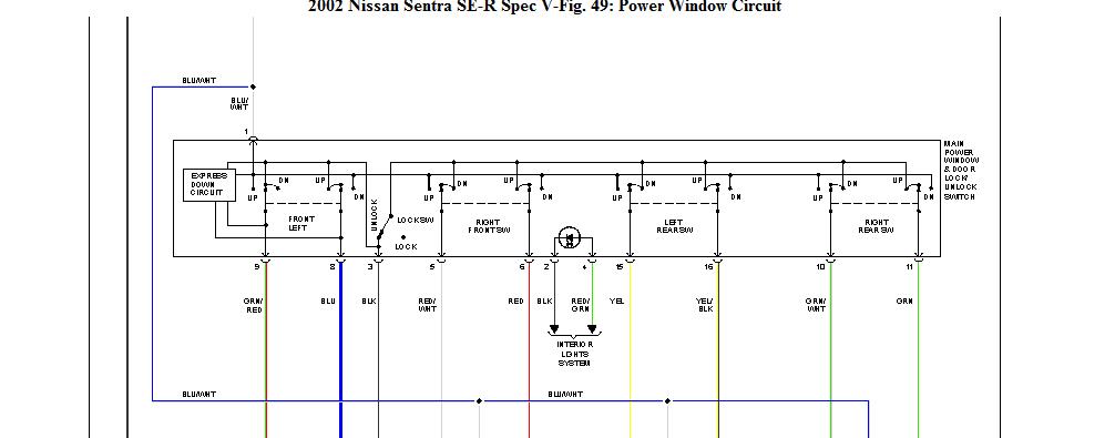 2002 nissan sentra se r door locks window switch spec the harness