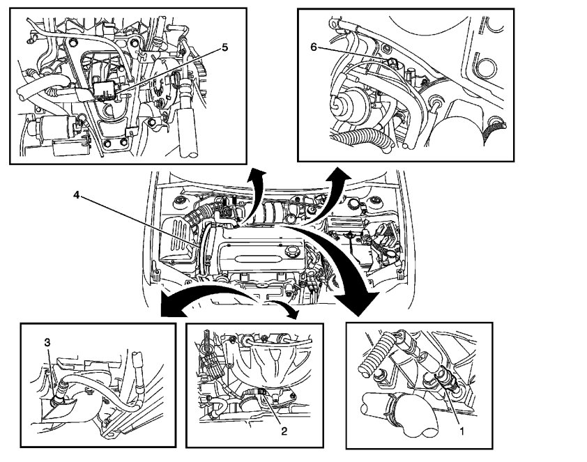 knock sensor location for 2004 chevy aveo