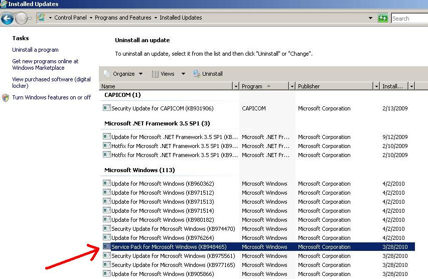 how to know exchange 2010 service pack