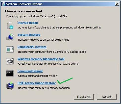 want to restore my Dell Inspiron back to the factory settings,