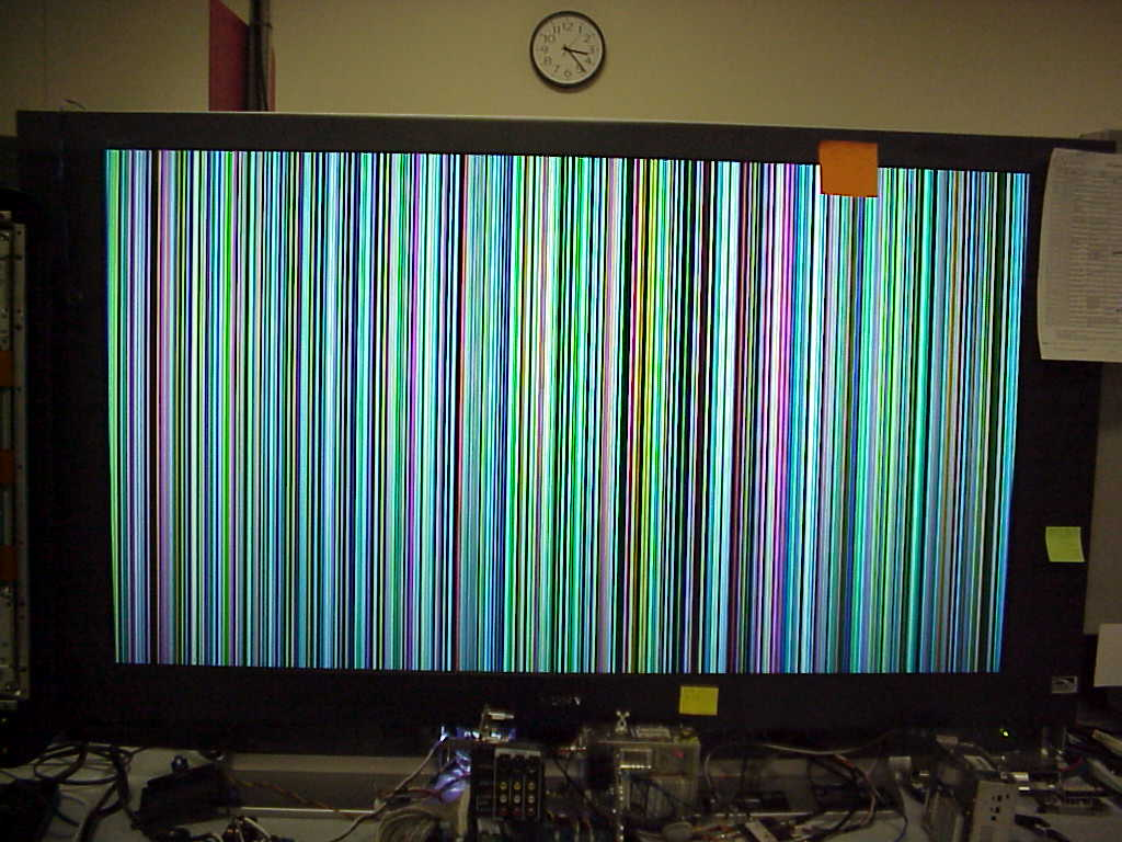 my sony tv only shows a rainbow of vertical stripes when. Black Bedroom Furniture Sets. Home Design Ideas