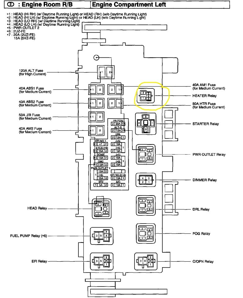 where is the ac relay located on a 2001 toyota tundra
