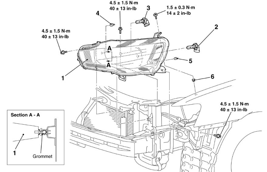 service manual  2011 mitsubishi lancer headlight assembly