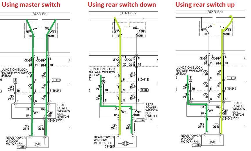 rr window not working on a 2005 mitsubishi endeavor. any ideas? goes down from rr door but not ... 2004 mitsubishi endeavor wiring diagram window 2004 mitsubishi galant wiring diagram #7