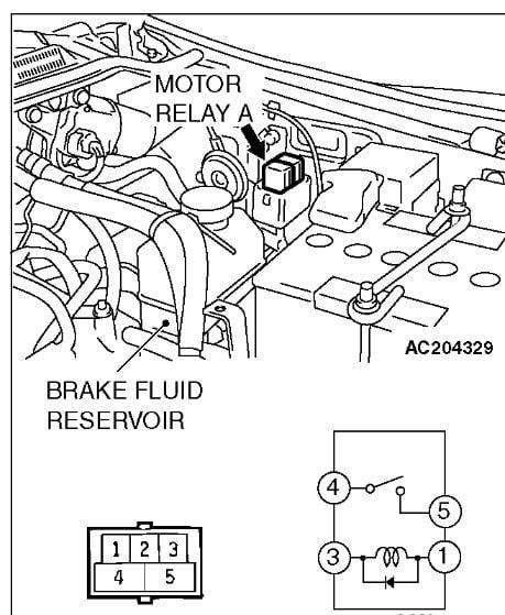 mitsubishi montero limited  code 54 motor relay  58 pressure switch  and 58 m
