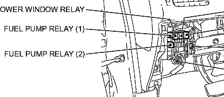 2003 mitsubishi montero sport fuel pump relay location