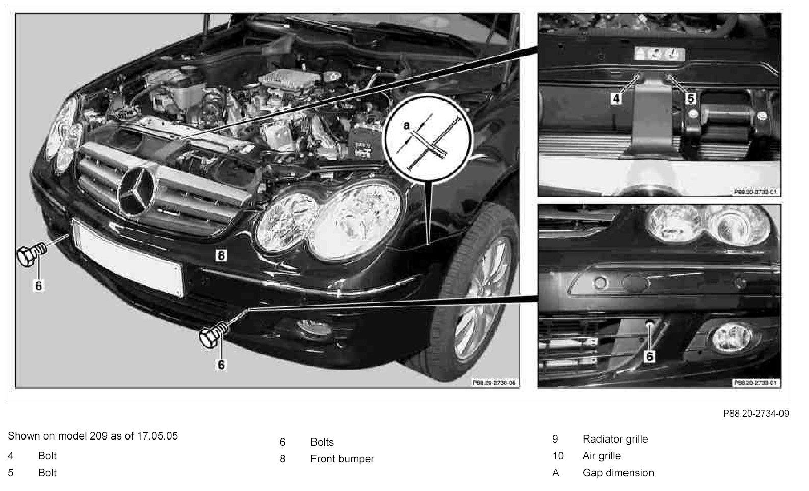 Service manual how to remove rear bumper 2006 mercedes for Mercedes benz bumper repair