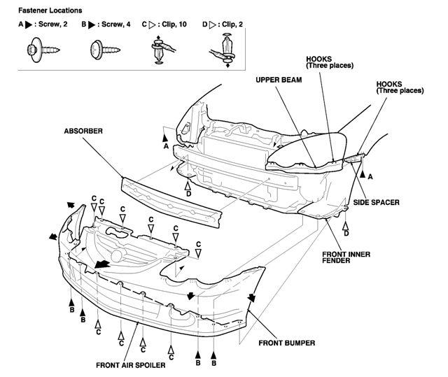 acura rsx front bumper diagram html