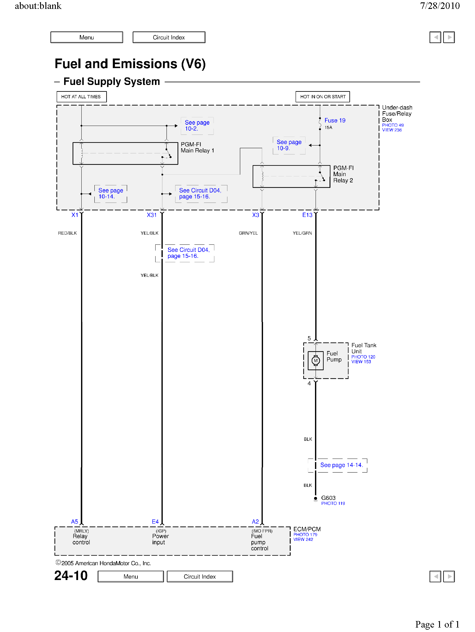 We Need Fuel Pumpelectrical Diagram For Honda Accord V6 3