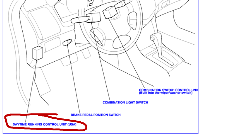 where is the location of drl relay in 2004 honda accord