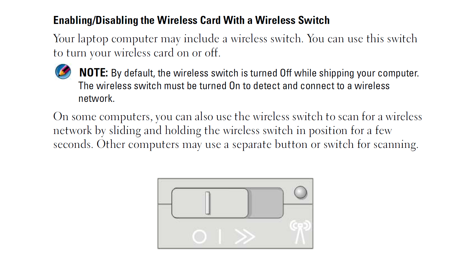 how to turn on wireless switch on my computer
