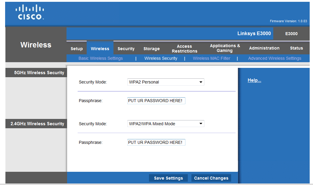 how to change linksys wireless router security settings