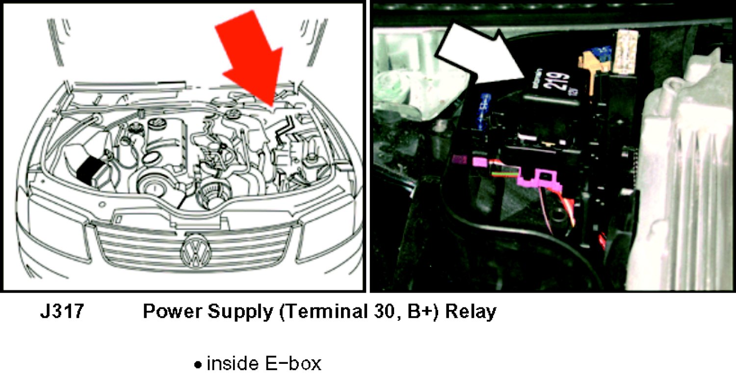 where is the ecm power relay located on a 2002 passat