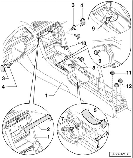 how can i remove the center console from a 2004 audi a4 quattro  i am trying to remove the