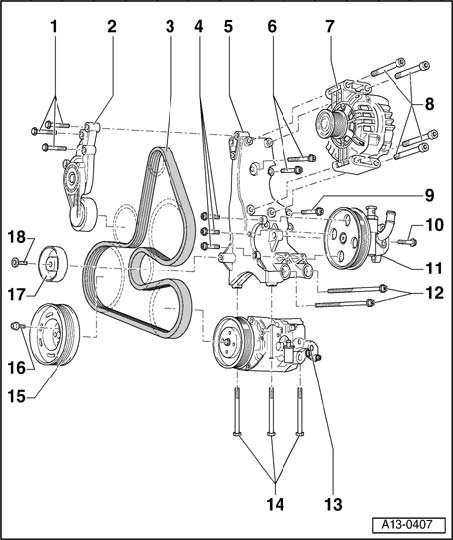 vw serpentine belt diagram