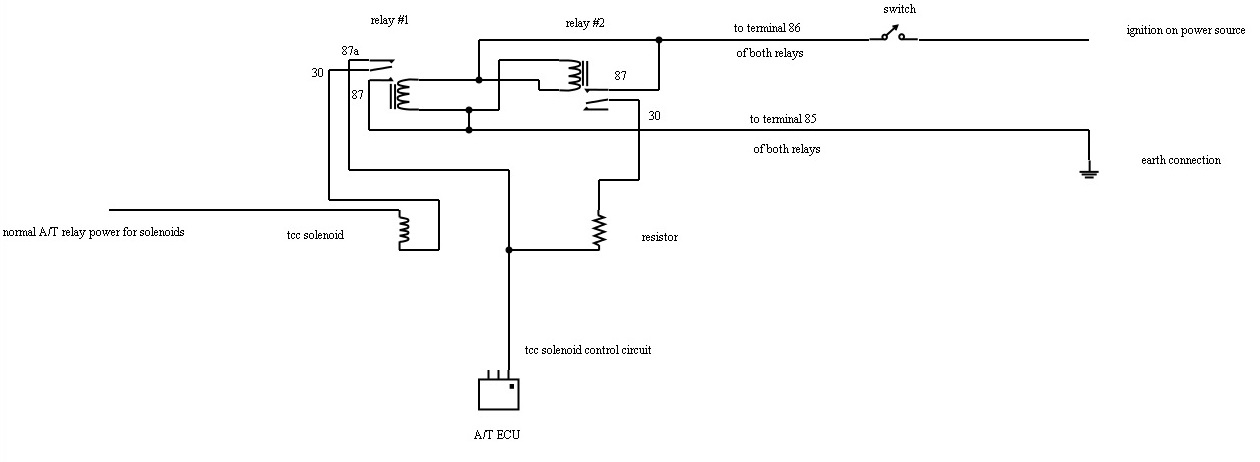 switch to manually lock up the converter in a np pajero did here s something i just drew up using an online circuit designer have a look at this and let me know if you have any questions jeff