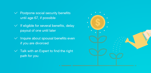 A visual depicting the steps to take to maximize your Social Security benefits