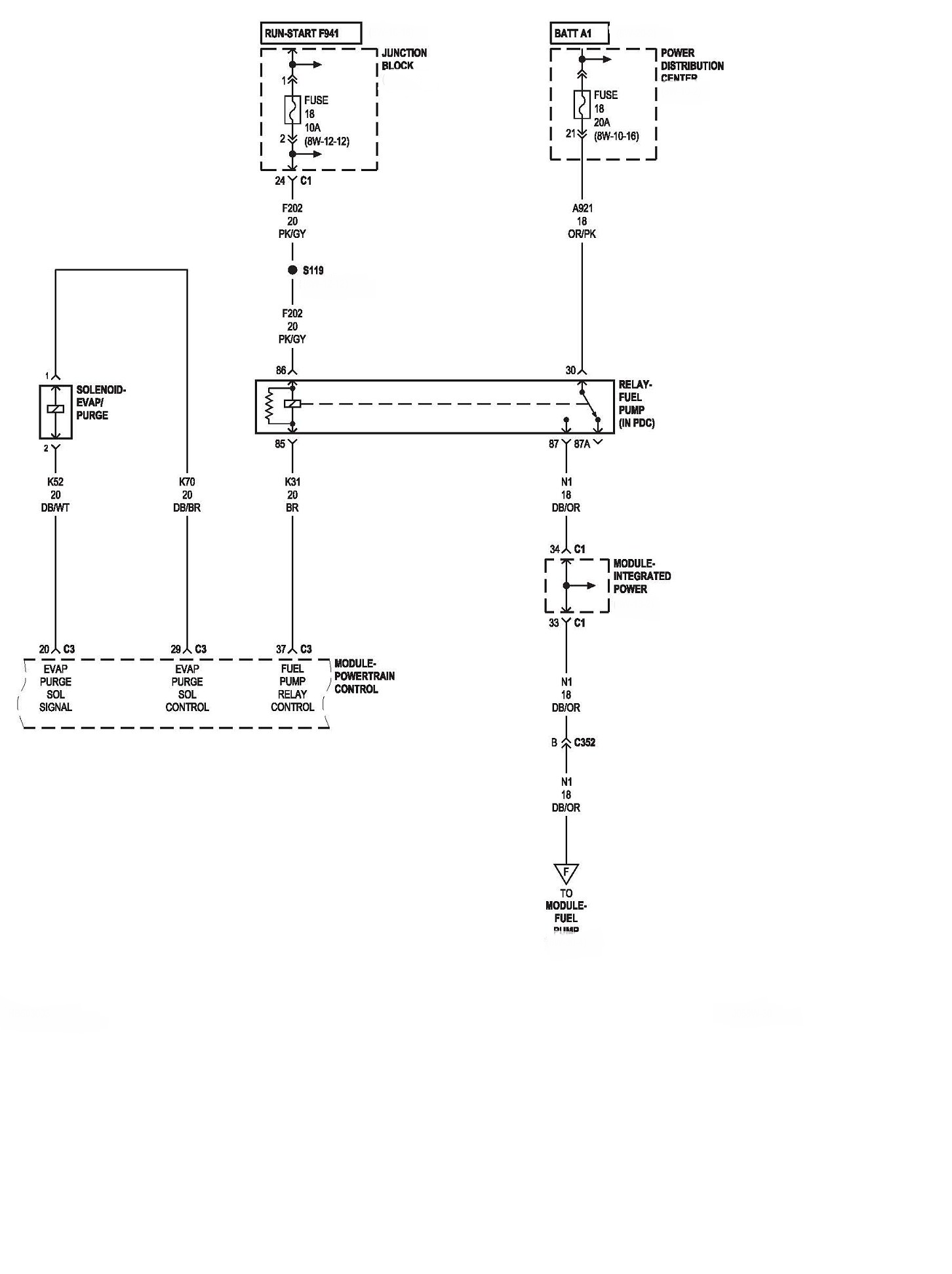 ... diagram of the fuel pump relay. graphic
