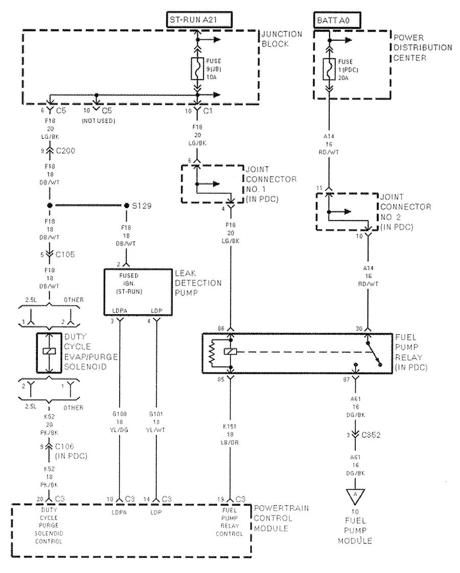 Wiring Diagram Fuel Pump Operation  94 Dodge Dakota 8 Cylinder