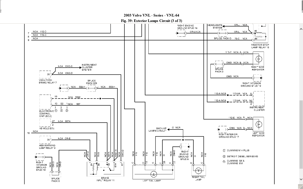 semi trailer light wiring diagram 2003 volvo vnl 660 w cummins n 14 tractor tail lights semi trailer abs wiring