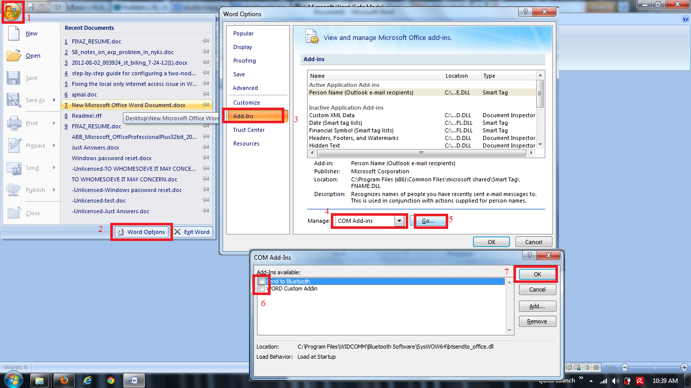 microsoft office 2013 insufficient memory or disk space