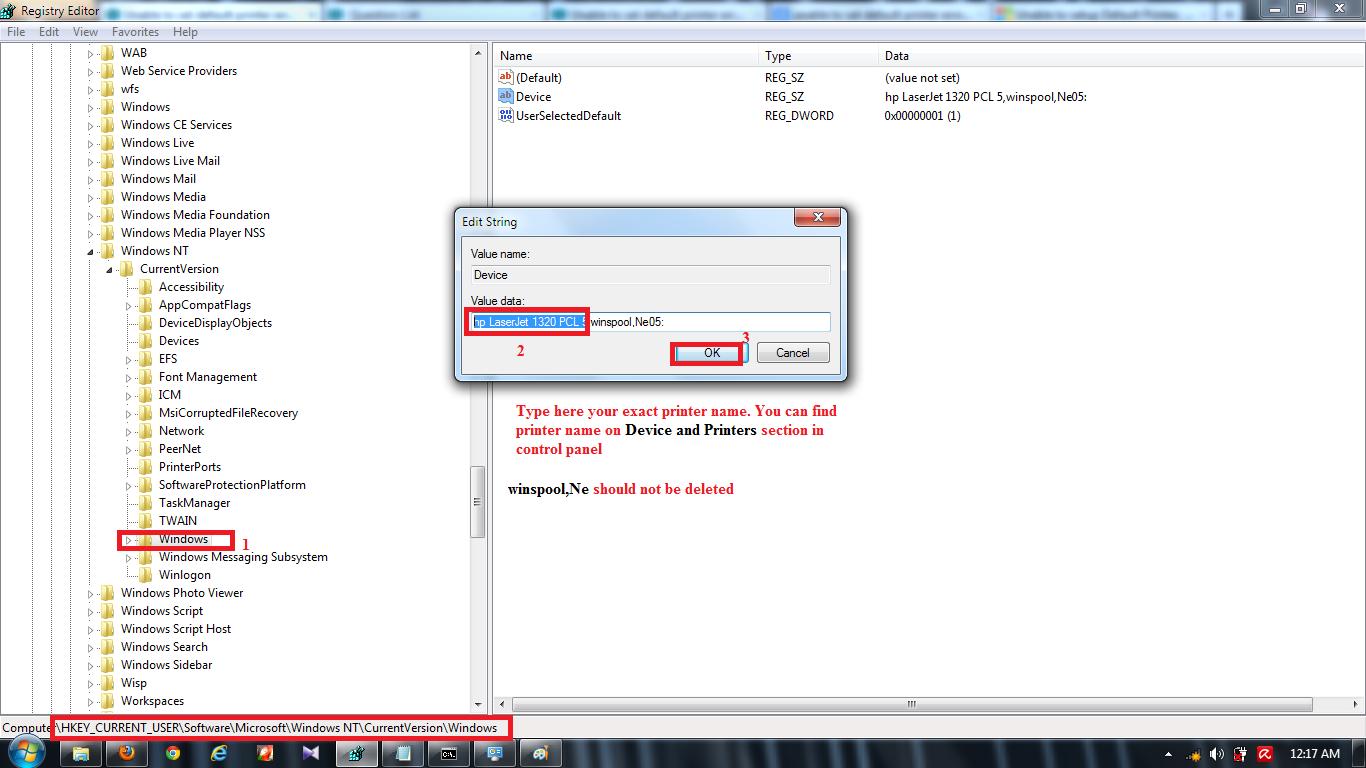 Unable to set default printer error message 0x00000709