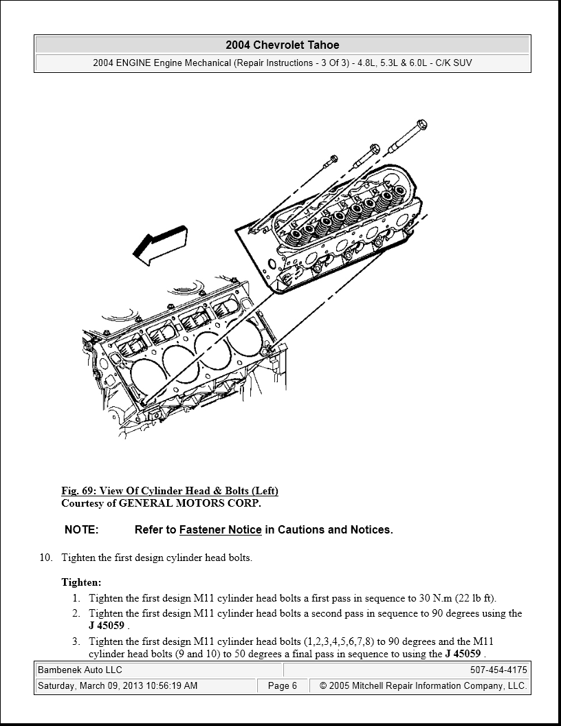 GM tahoe what is the head torque and sequence 04 tahoe with