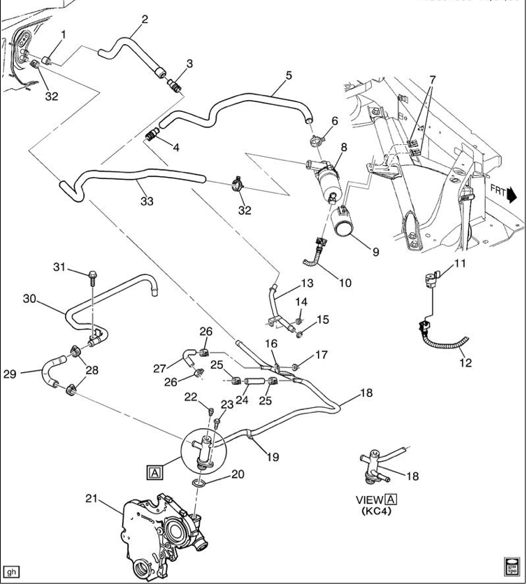77czn One Heater Hoses Going Auxiliary Heater Pump on 2004 Pontiac Grand Prix Engine Diagram