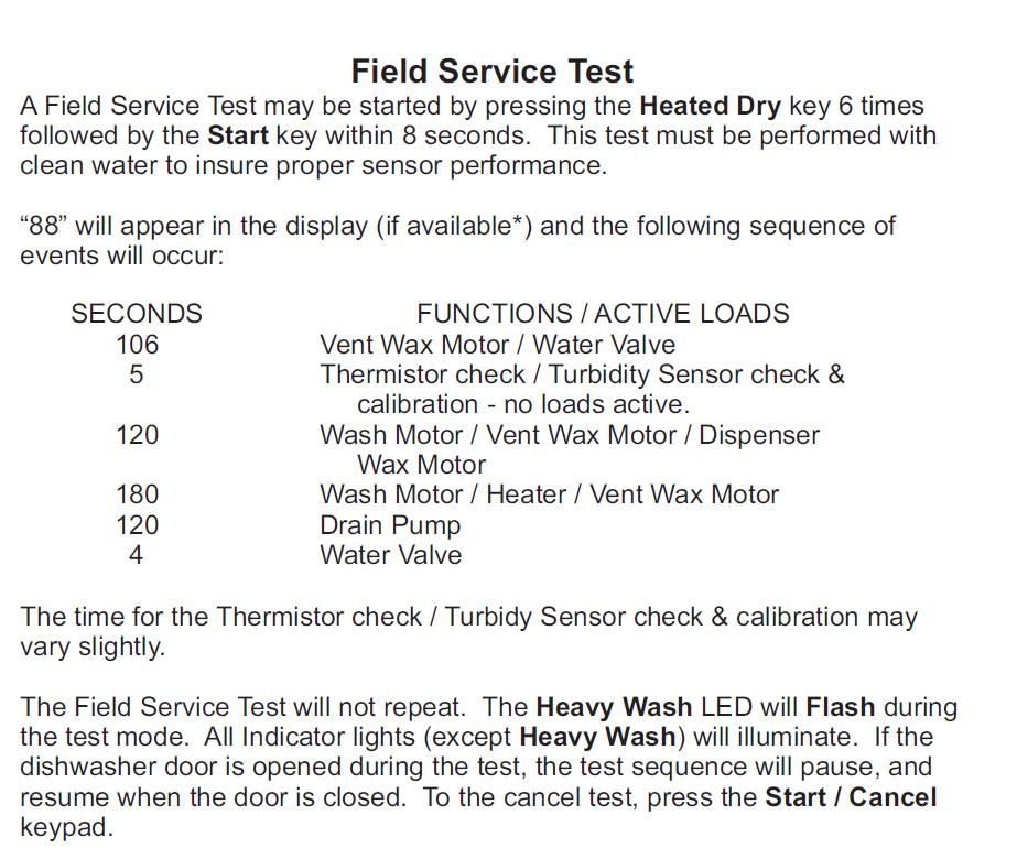 Malfunction in wash cycle on JDB1100AWS dishwasher  the