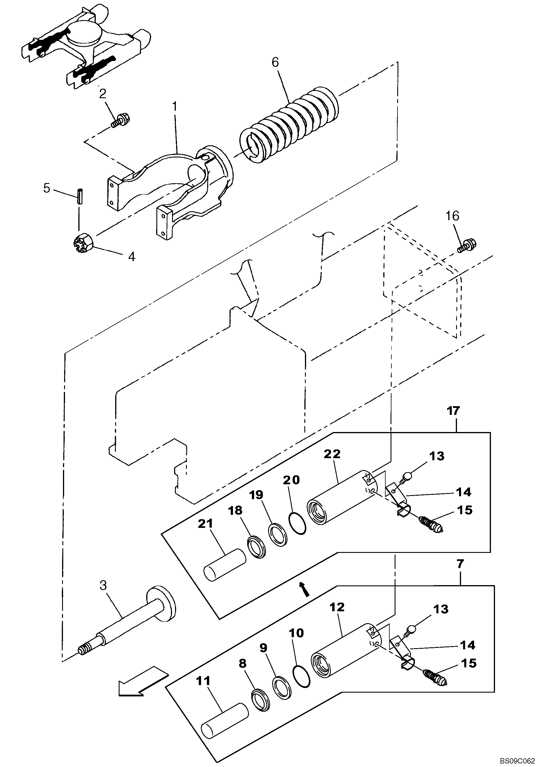How do you take a track adjuster cylinder off and replace