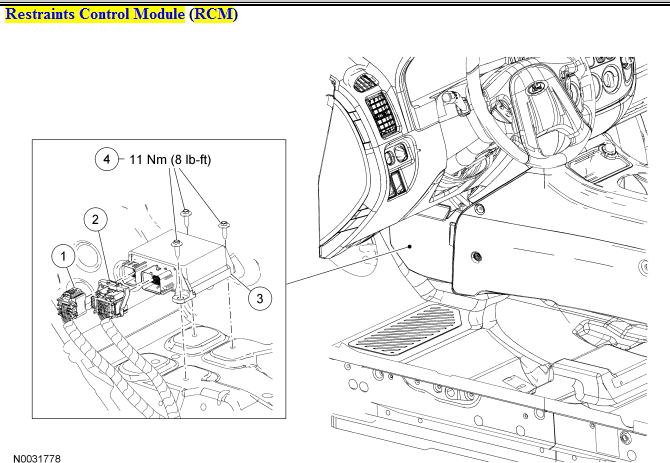 Where is the SRS airbag control module located in a 2005 Mazda