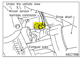 where is the knock sensor location in my 2002 infiniti g20