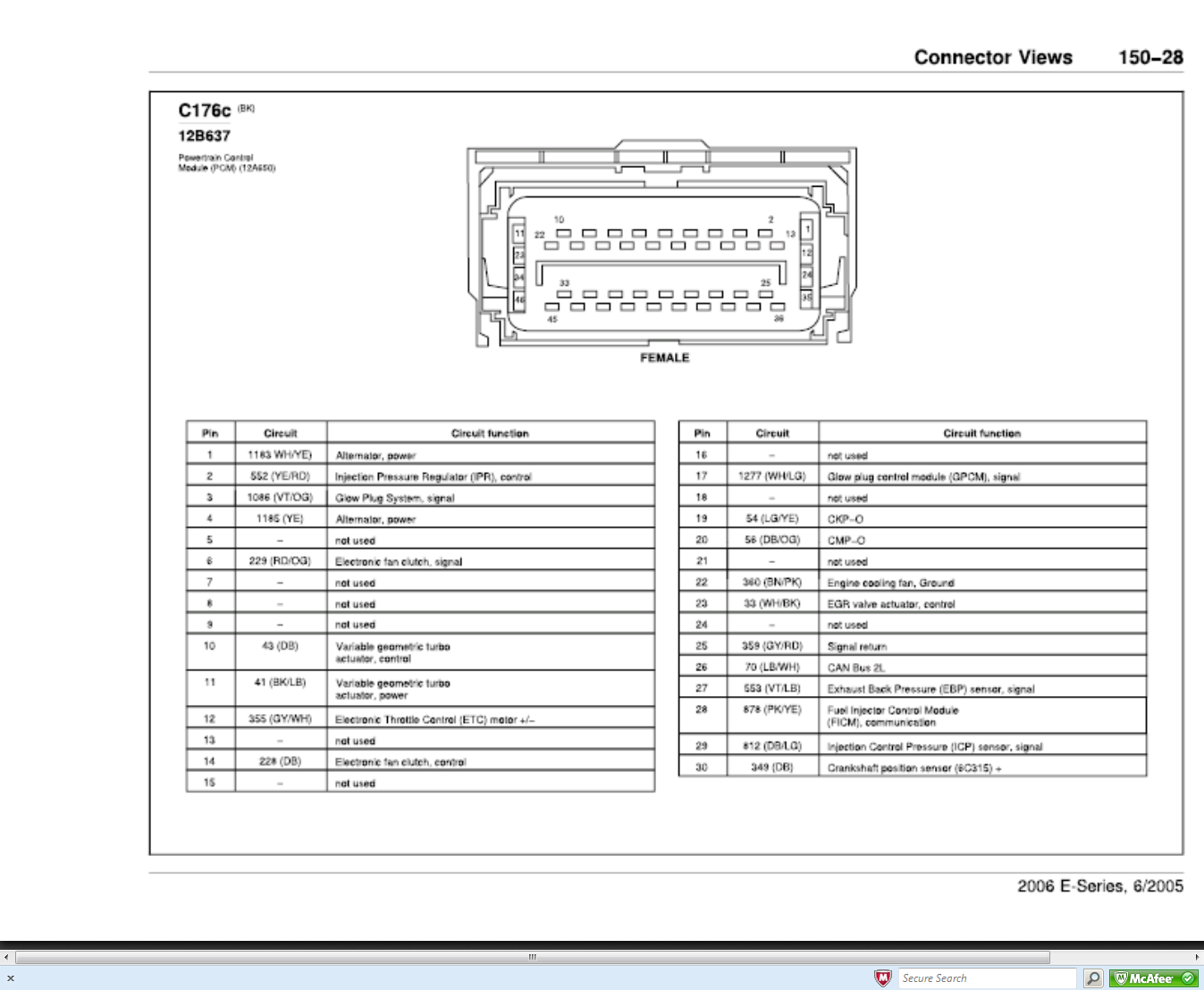 i need the pinout for ecm on a 2006 ford e350 with 6 0 diesel rh justanswer com International 6.0 Wiring-Diagram Chevy 6.0 Wiring-Diagram