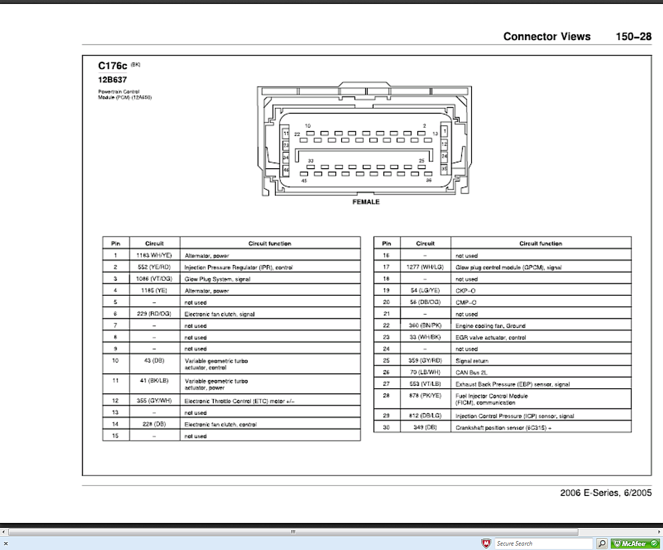 I Need The Pinout For Ecm On A 2006 Ford E350 With 6 0 Diesel