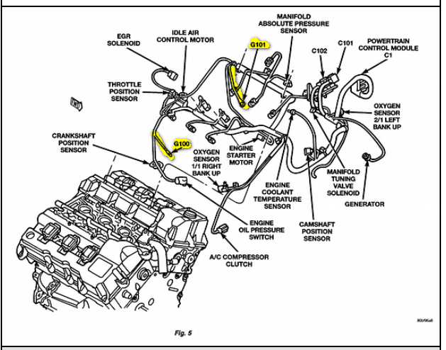 2001 dodge intrepid engine diagram layout