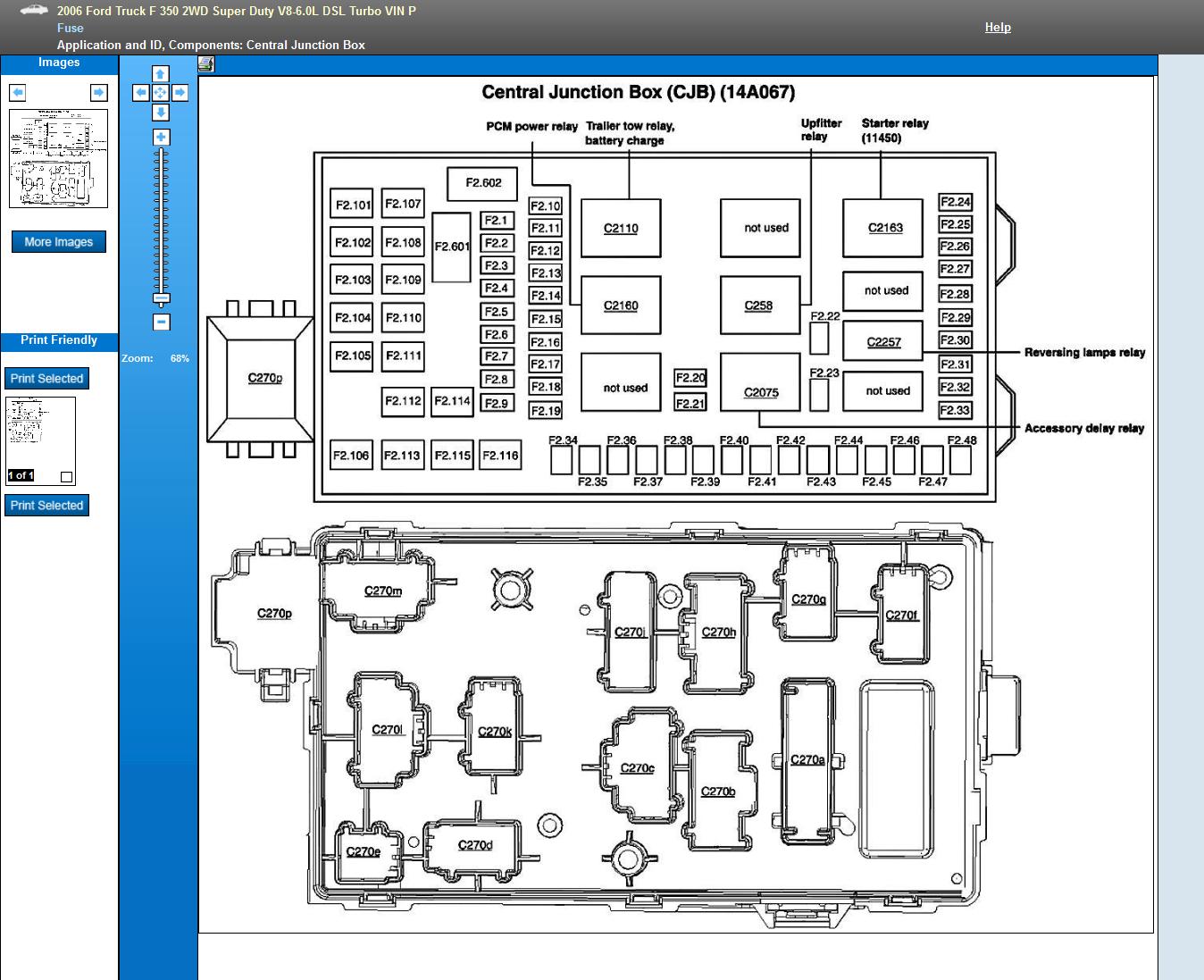 i need a diagram of the fuse box on my 2006 f350 diesel power stroke rh  justanswer com 2006 f350 6.0 fuse box diagram 2006 f350 diesel fuse panel  diagram