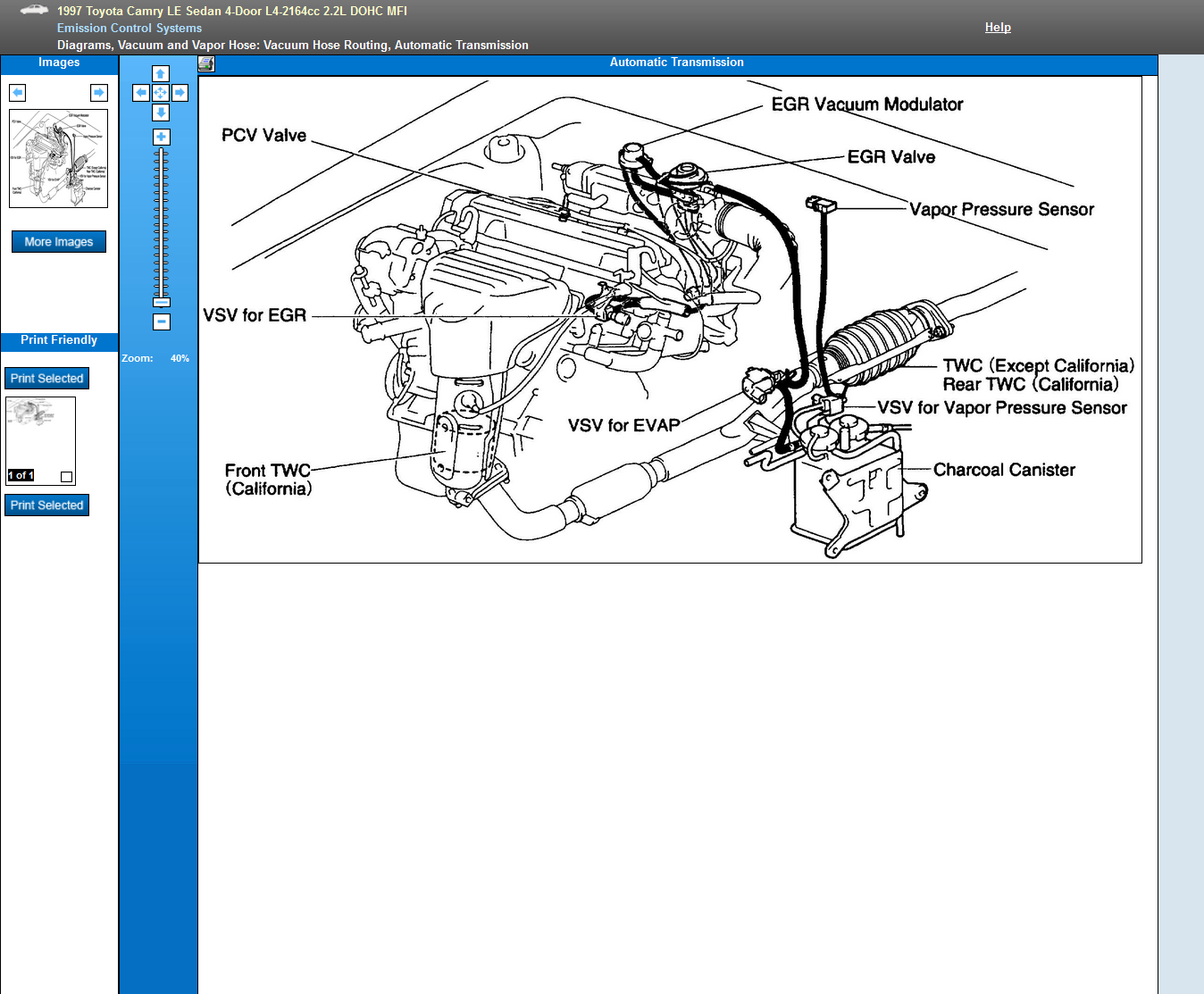 I am working on a 1997 Camry le 2.2 engine. Can you send me a schematic  showing how all the vacuum hoses connect toJustAnswer