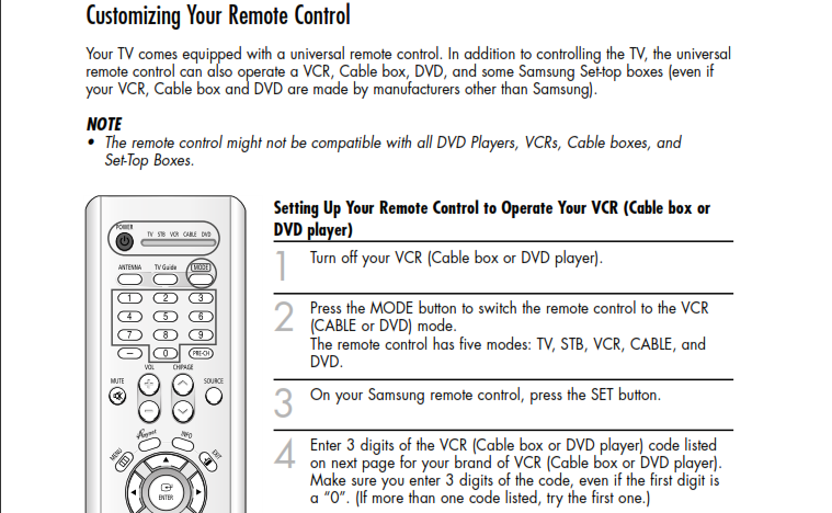 SAMSUNG TV HL R4664 w how to program TV @ remote to have