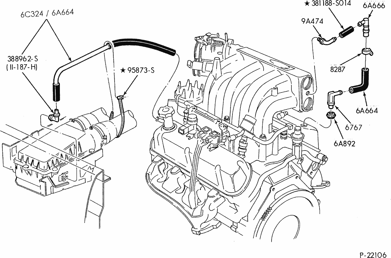 i need a diagram of the engine compartment of a 94 ford f150 showing the hoses and labeling what